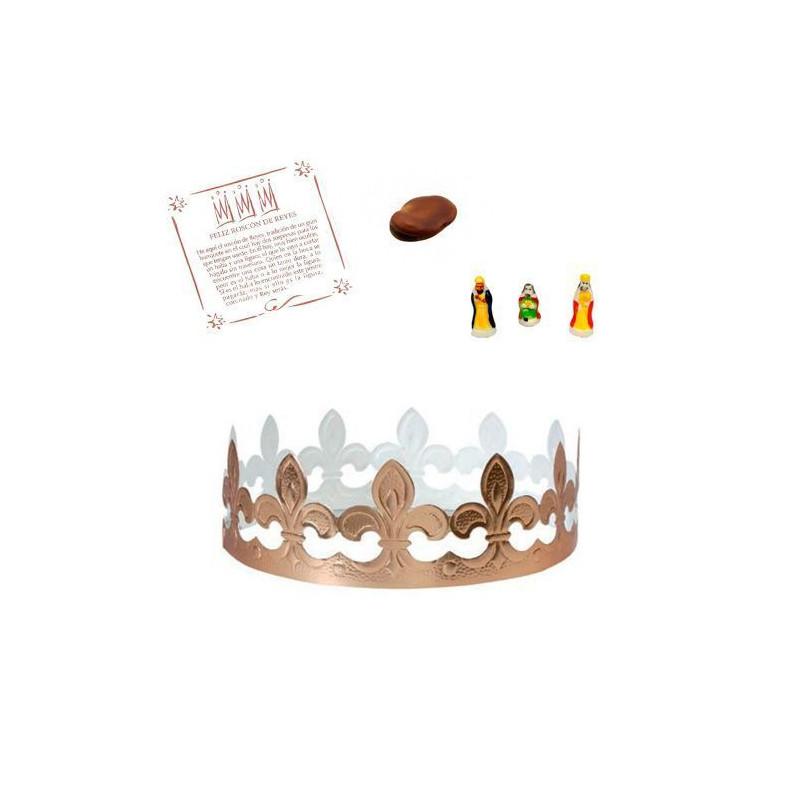 Kit para Roscón de Reyes: Corona, haba, rey mago y tarjeta