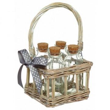 Cesta de mimbre con botellas Kitchen Craft