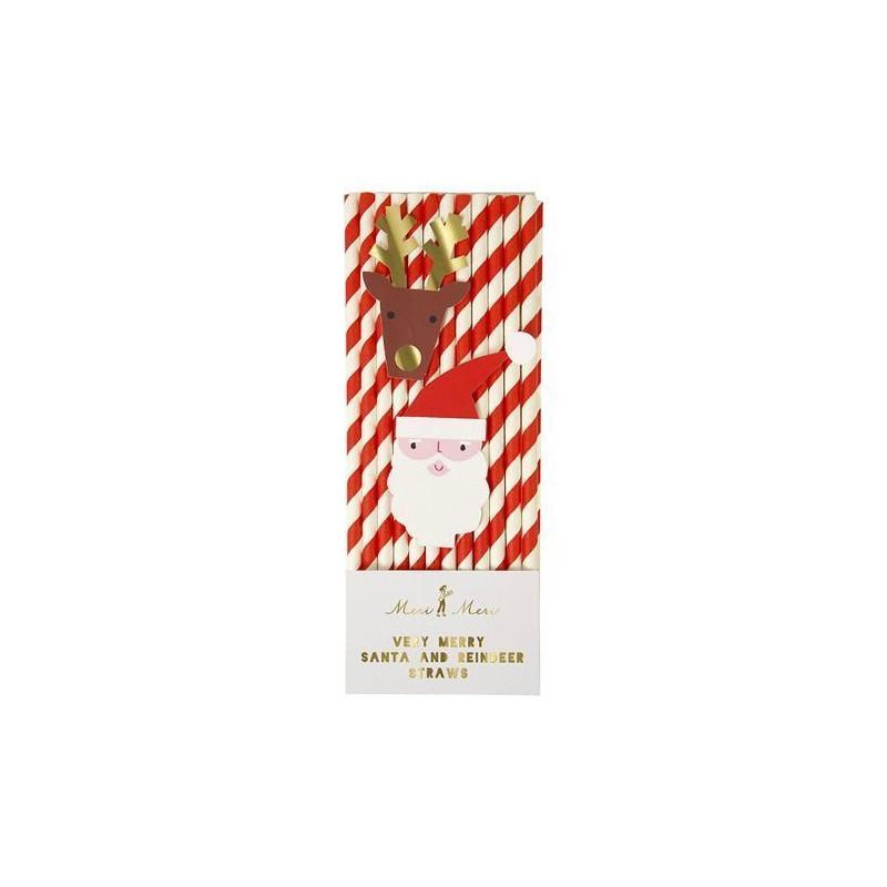 Pack de pajitas Papa Noel y Reno Meri Meri