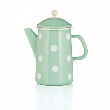 Cafetera esmaltada verde lunares 1.6 L