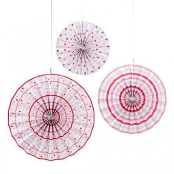 Pack 3 abanicos de papel Lunares Rosa [CLONE]