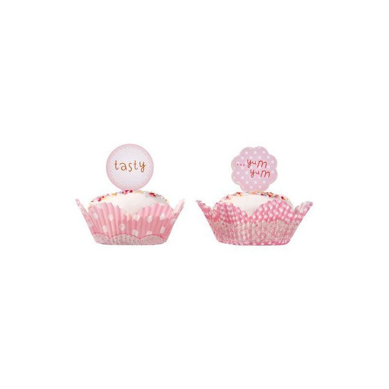 Set para cupcakes: Rayas y lunares rosa