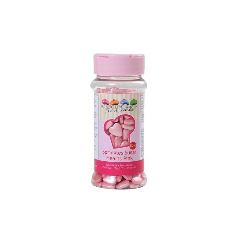 Sprinkles corazones rosa perlados Funcakes