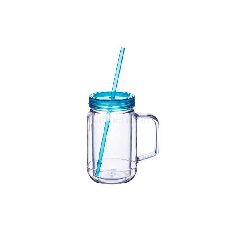 Jarra de plástico con asa + tapa+ pajita Azul Kitchen Craft [CLONE]