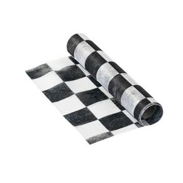 Camino de mesa blanco y negro