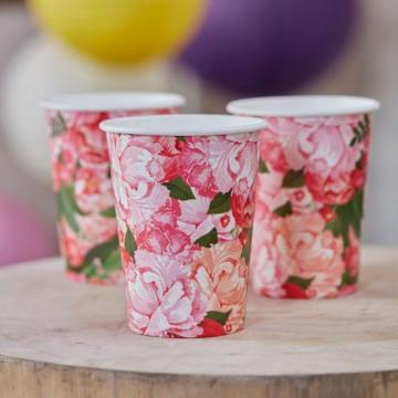 Vasos de papel Boho Flores Vintage