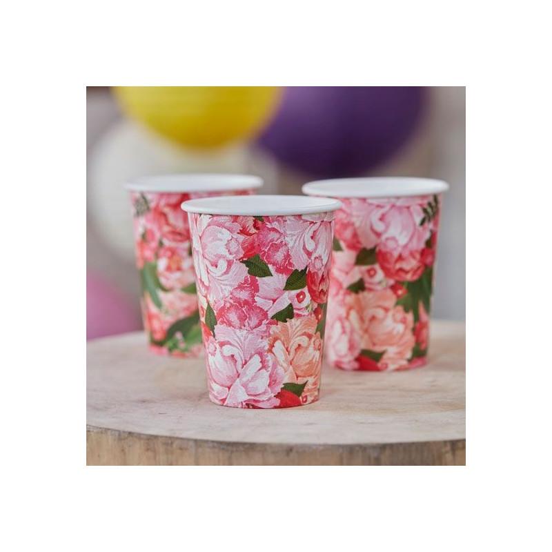 Vasos de papel Flores Vintage