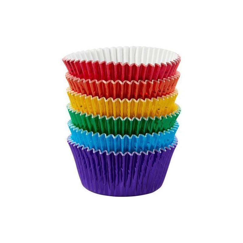Pack de 72 cápsulas de cupcakes metalizadas en colores primarios Wilton