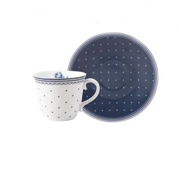 Taza de café + plato Vintage Indigo Katie Alice