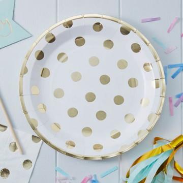 Plato de papel Lunares Oro Pick and Mix