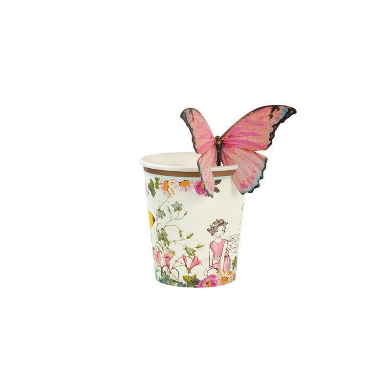 Vasos de fiesta de Hadas con detalle de Mariposa