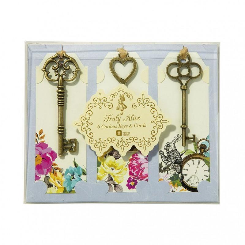 Pack de 6 etiquetas con llaves Alicia en el país de las maravillas