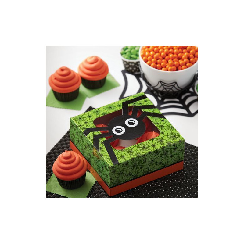 Pack de 2 cajas para 4 cupcakes Araña Halloween Wilton