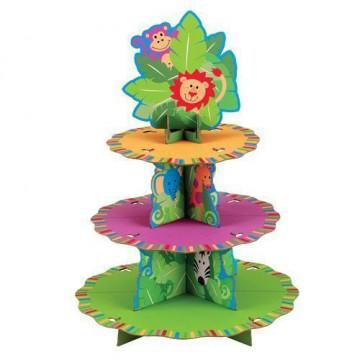 Stand de presentación cupcakes Jungle Pals Wilton