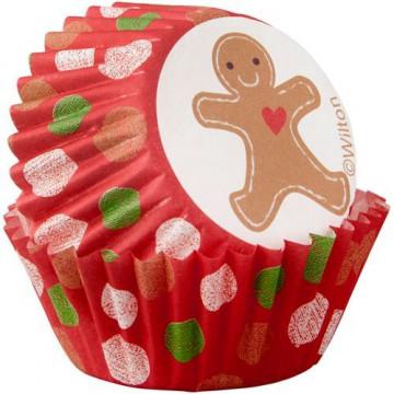 Cápsulas mini cupcakes Muñeco Jengibre Lunares Navidad Wilton