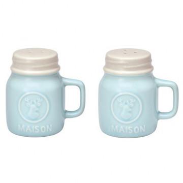Tarros de cerámica para Sal y Pimienta Mason Mint Green Gate