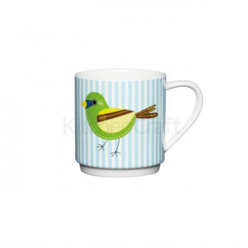 Taza con asa Pajaro con Rayas Azul Kitchen Craft