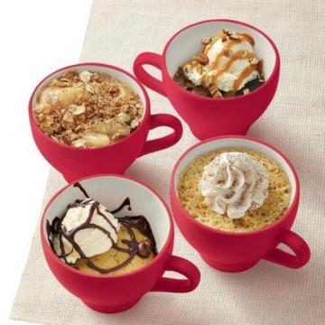 Set de 4 tazas Mug Cakes Rojo Cerámica Wilton