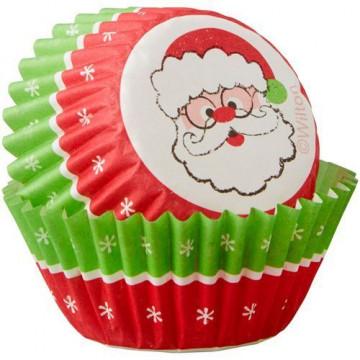 Cápsulas mini cupcakes Papa Noel estrellas Navidad Wilton