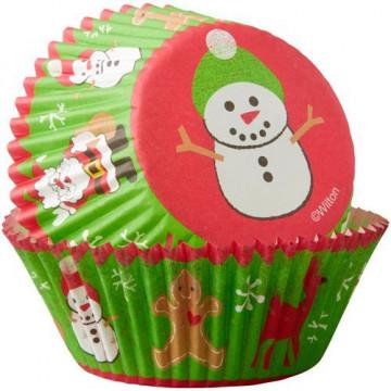 Cápsulas cupcakes Muñeco de Nieve Navidad Wilton