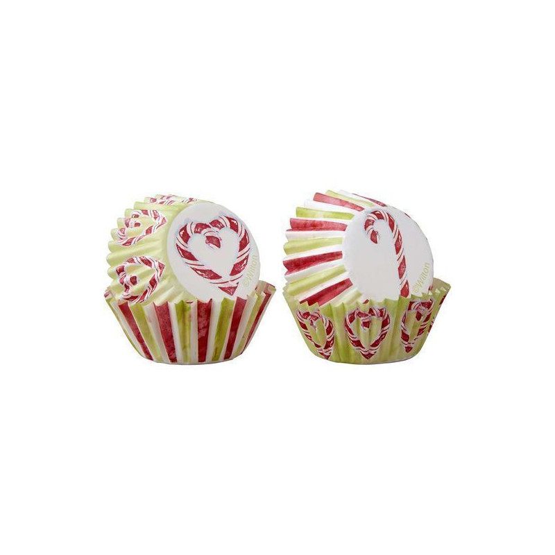 Cápsulas mini cupcakes Bastón de caramelo Navidad Wilton