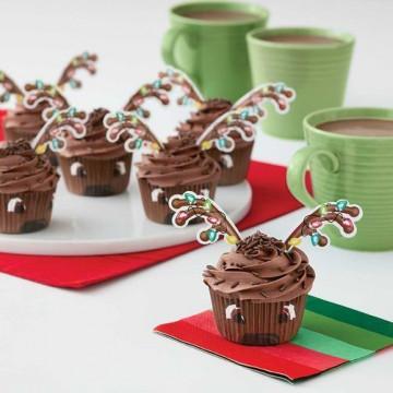 Set para cupcakes: Reno con luces de colores Navidad Wilton