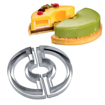 Kit de 6 aros de pastelería Molde Tondo Martellato