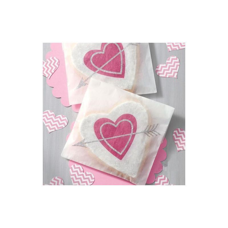 Pack de 6 bolsas de papel corazón San Valentín Wilton