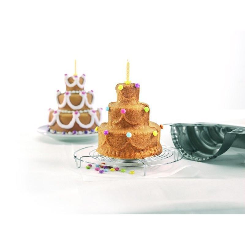 Molde bizcocho 3D Tarta 3 Pisos Happy Birthay Birkmann