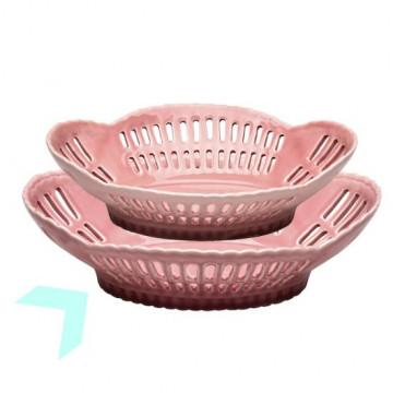 Fuente frutero de cerámica mediano Pale Pink Green Gate [CLONE]