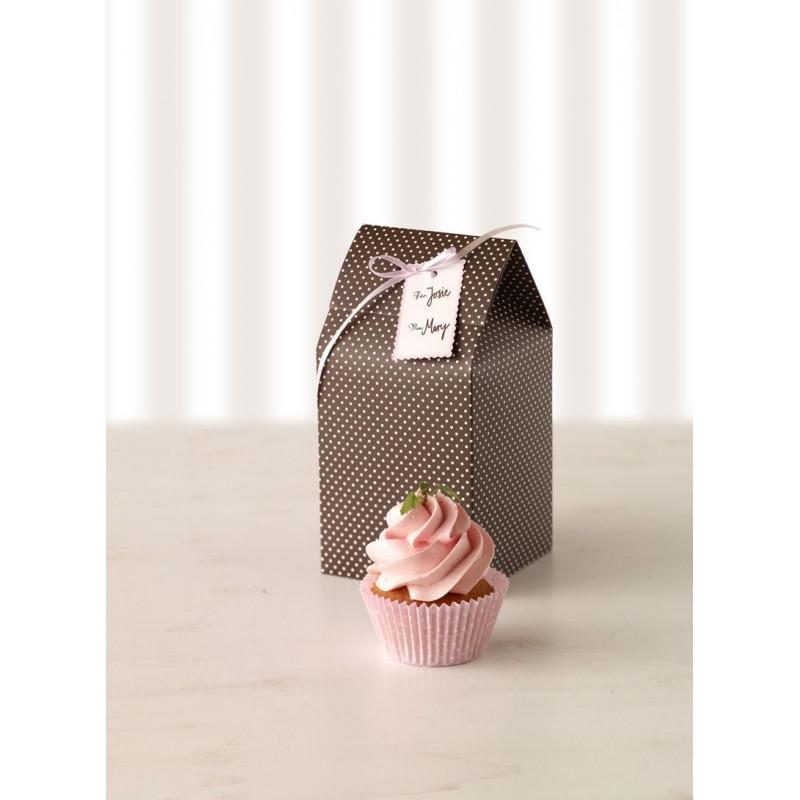 Cajas, pack 2 cajas individuales marrón topos rosas