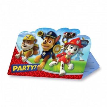 Pack de 8 invitaciones para fiesta La Patrulla Canina