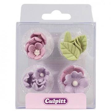 Decoraciones de azúcar Flores Violeta y Hojas Culpitt