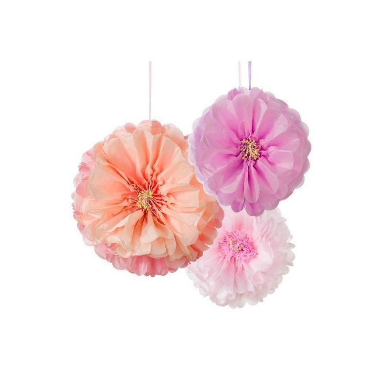Pack de 3 Pompones Flor melocotón, rosa y blanco