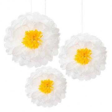 Pack de 3 Pompones Flor melocotón, rosa y blanco [CLONE]