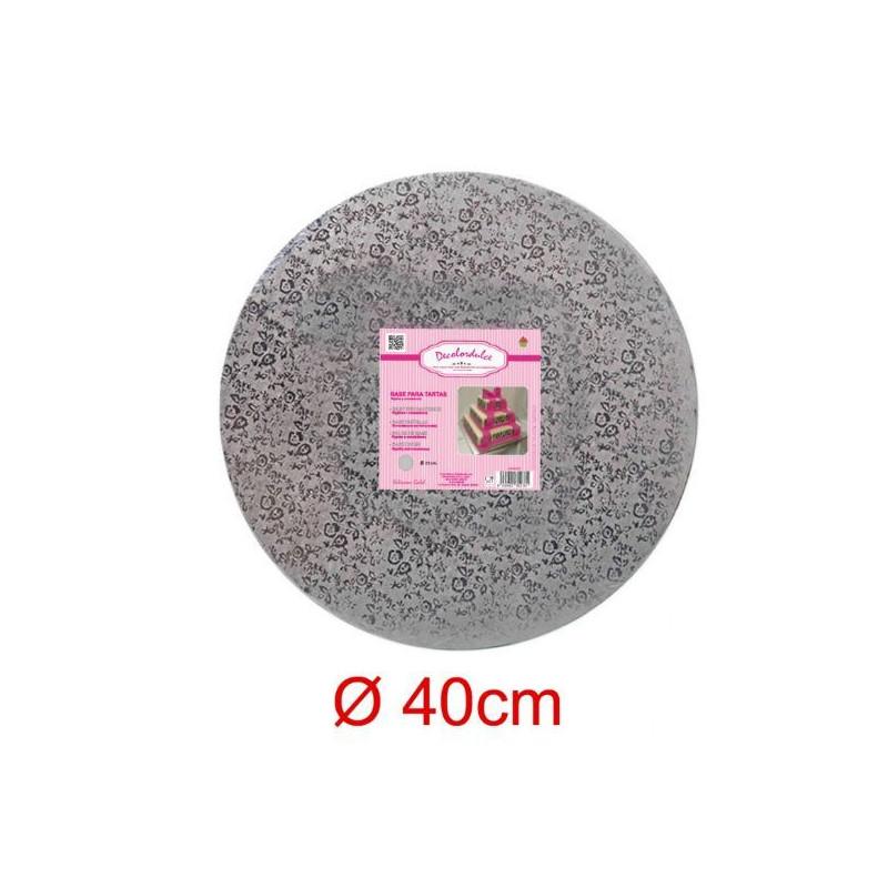 Bandeja de presentación 25 x 1 cm Plata Flores [CLONE] [CLONE] [CLONE]