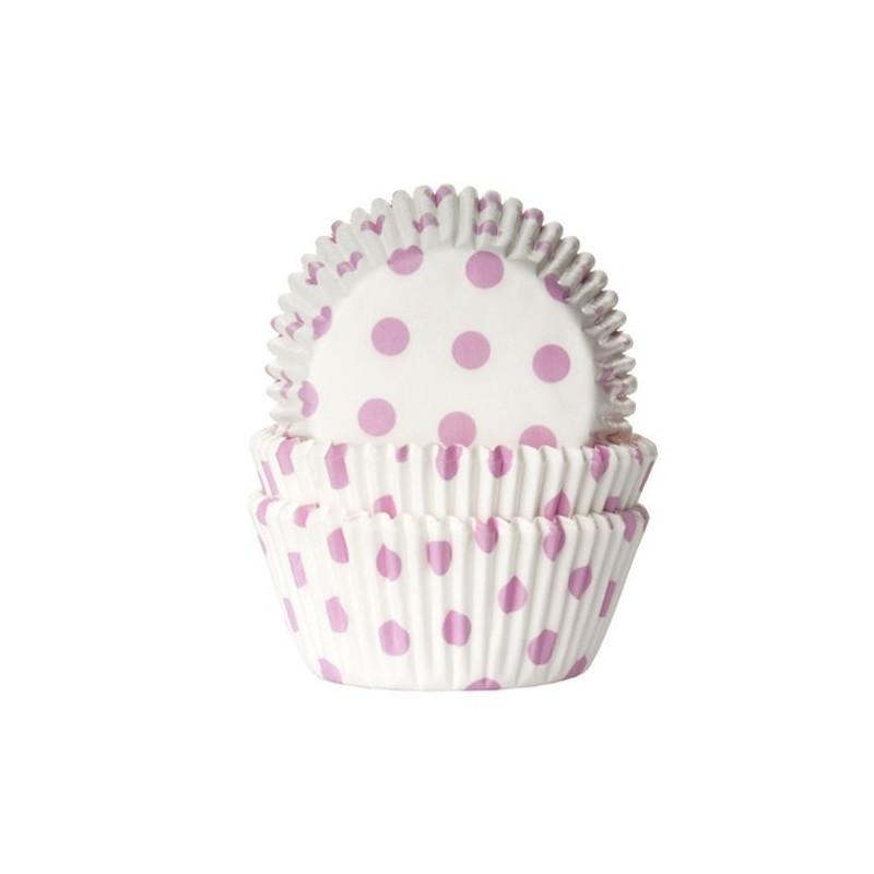 Capsulas cupcakes blanco con lunares rosa HoM