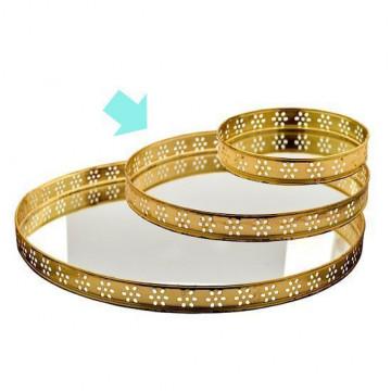 Bandeja redonda pequeña con borde de oro y espejo Green Gate [CLONE]