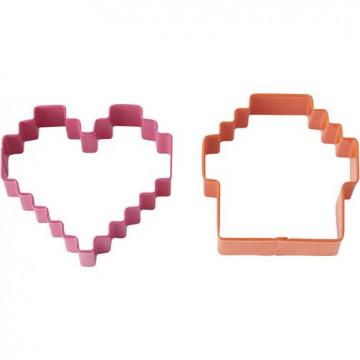 Pack de 2 cortantes Pixel: corazón y cupcake Wilton