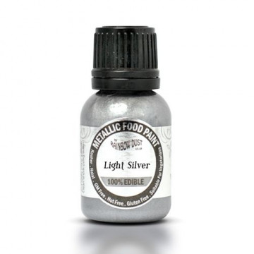Metallic Food Paint Light Silver Plata Rainbow Dust