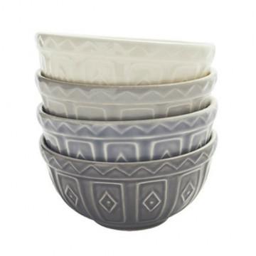 Pack 4 boles mini cerámica tonos Grises Mason Cash