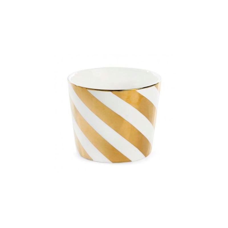 Bol de cerámica con rayas diagonales oro Miss Etoile