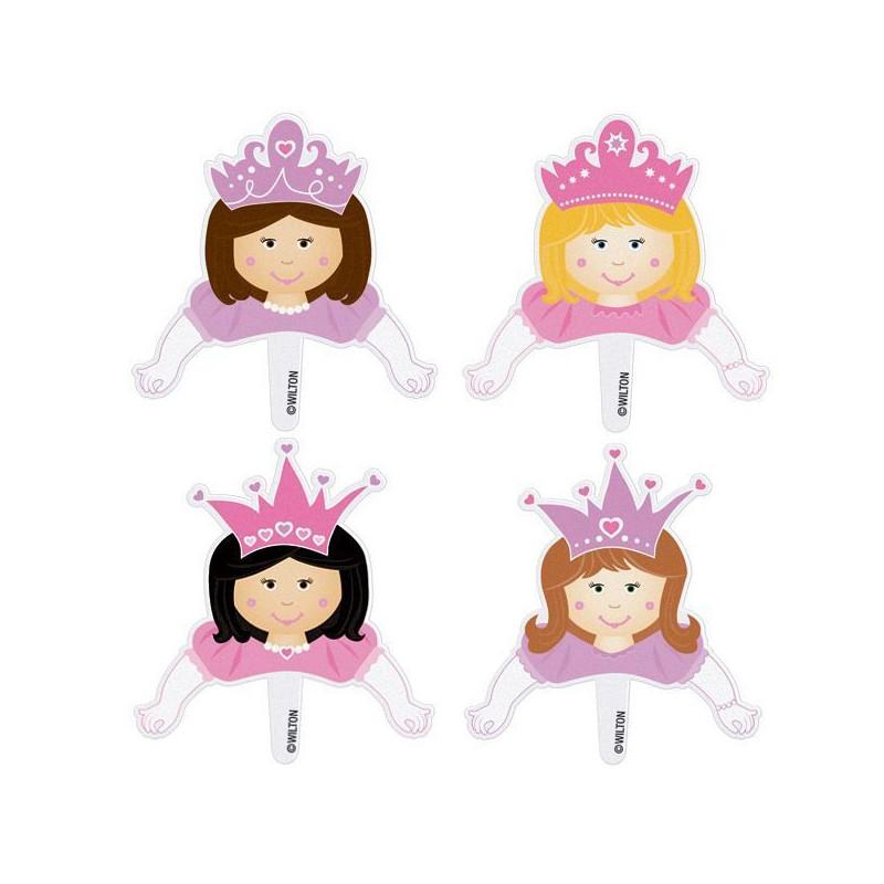 Pack de 8 toppers Princess Pops Princesas Wilton