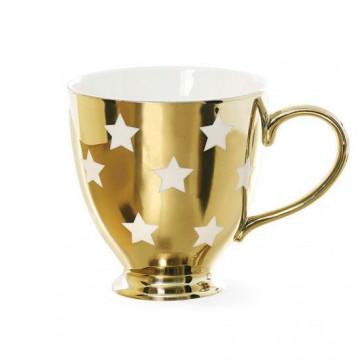 Taza con asa Oro con estrellas blancas Miss Etoile