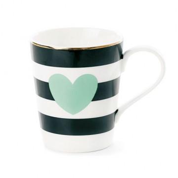 Tazón con asa rayas negras corazón verde Miss Etoile