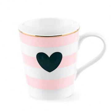 Tazón con asa rayas negras corazón rosa Miss Etoile [CLONE] [CLONE]