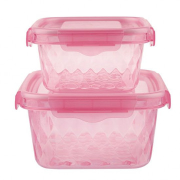 Pack de 2 Tuppers rosa con tapa rosa Miss Etoile