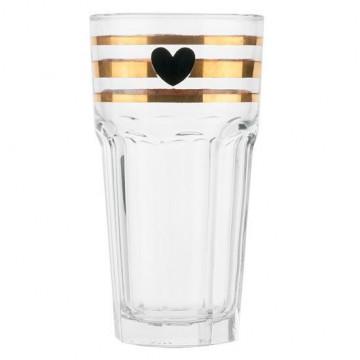 Vaso de cristal rayas oro corazón negro Miss Etoile