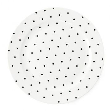 Plato de cerámica 25 cm Lunares Negros Miss Etoile