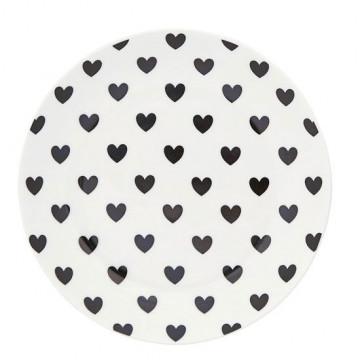 Plato de cerámica 17 cm Corazones Negros Miss Etoile